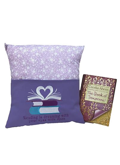 Purple Floral Heart Book Cushion