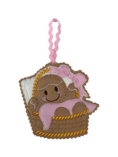 Baby Girl Basket Gingerbread Decoration