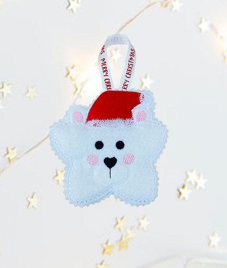 Christmas Kawaii Gingerbread Star Polar Bear Decoration