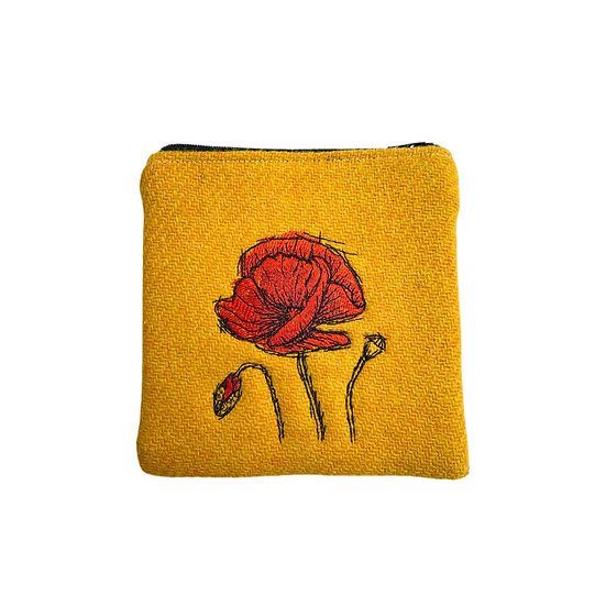 Harris Tweed Yellow Embroidered Poppy Purse