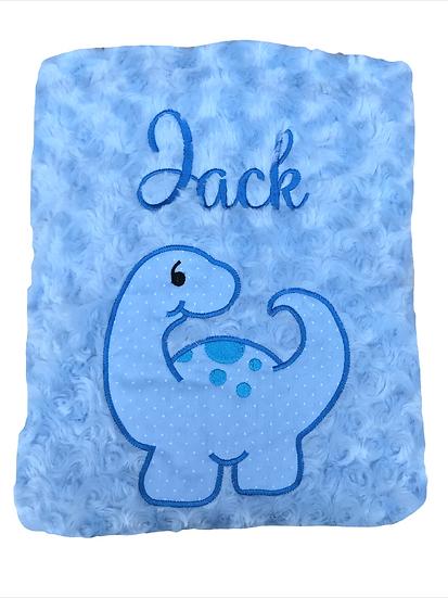 Blue Dinosaur Baby Blanket