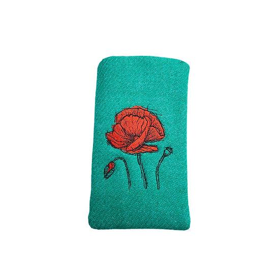 Harris Tweed Jade Green Embroidered Poppy Glasses Case