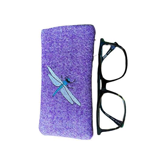 Harris Tweed Purple Dragonfly Glasses Case