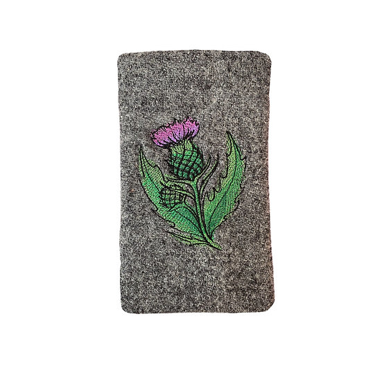 Harris Tweed Grey Embroidered Thistle Glasses Case