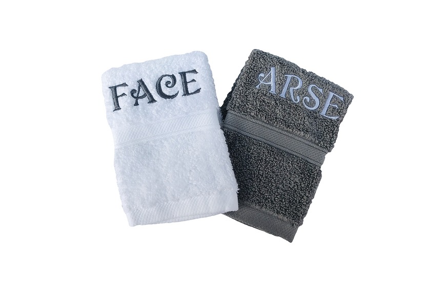 Novelty face cloths flannels embroidered naughty rude stocking filler washcloths