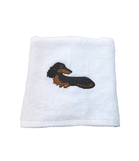 Longhaired Dachshund White Hand Towel