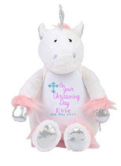 Unicorn Personalised Christening / Baptism / Holy Communion Soft Toy