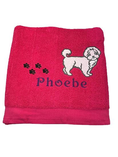 Maltipoo Personalised Pink Towel