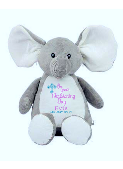 Elephant Personalised Christening / Baptism Soft Toy