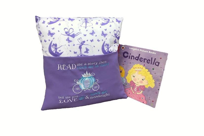 Cinderella Purple Fairy Princess Book Cushion