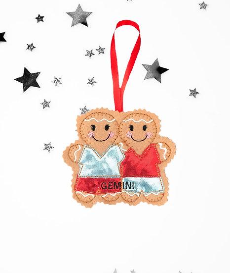 Gemini Starsign Gingerbread Decoration