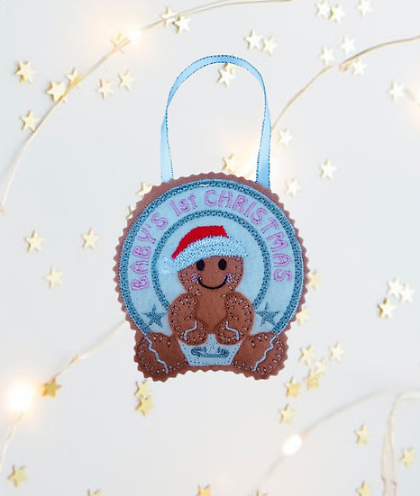 Baby's 1st Christmas Pink Gingerbread Decoration