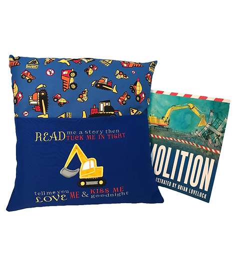 Digger Themed Book Cushion