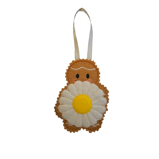 Daisy Flower April Birth Gingerbread Decoration