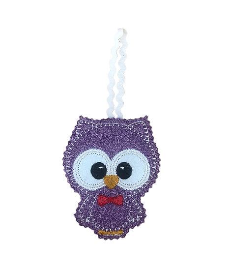 Purple Glitter Felt Owl Decoration