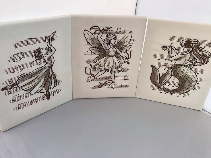 Set of embroidered Magical Music 7.5inch Canvas Wall Art