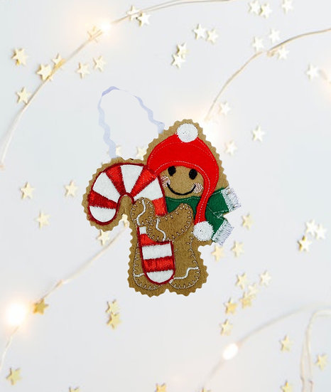 Candy Cane Gingerbread Decoration