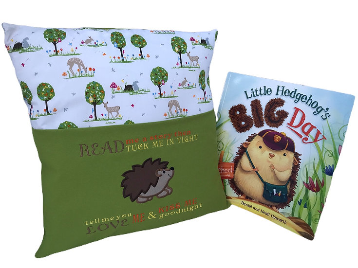 Hedgehog Themed Book Cushion