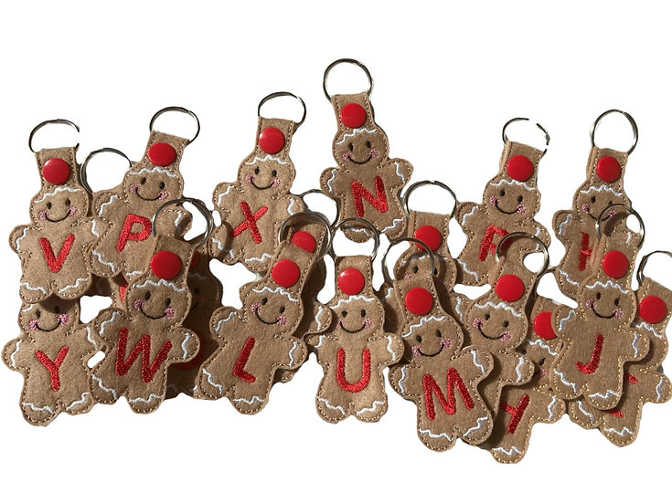 Christmas Gingerbread Initial Key Fob