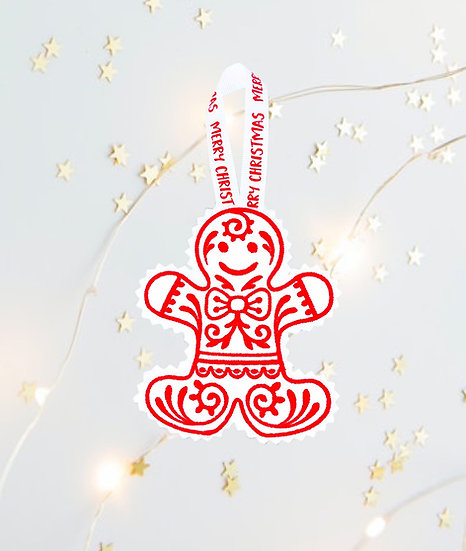 Red & White Gingerbread Man Christmas Tree  Decoration