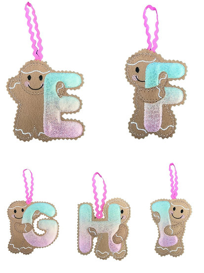 Christmas Gingerbread Initial Hanging Decoration
