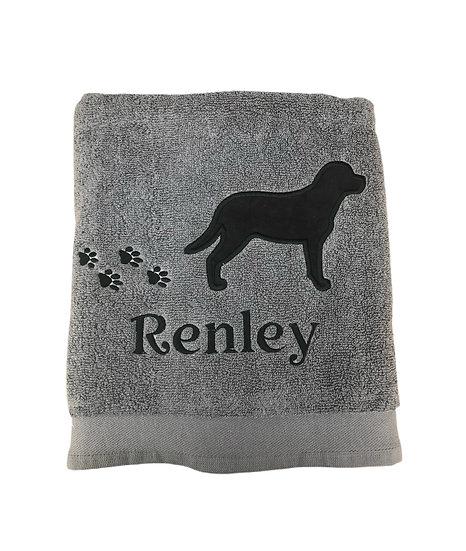 Black Labrador - Charcoal Grey Hand Towel