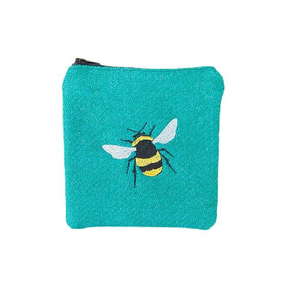 Harris Tweed Jade Green Embroidered Bee Purse