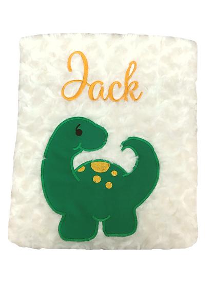 Dinosaur Cream Blanket