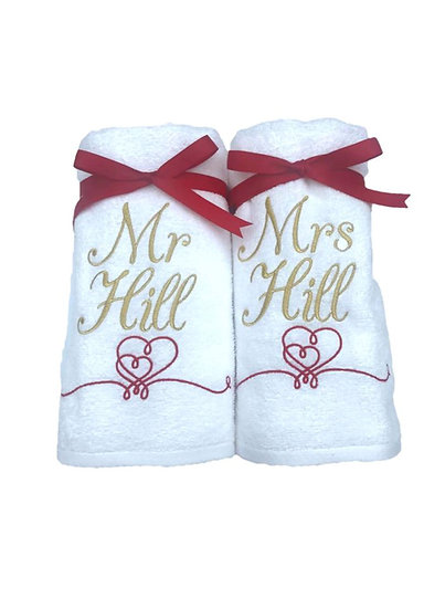 Pair of Personalised Wedding Bath Towels