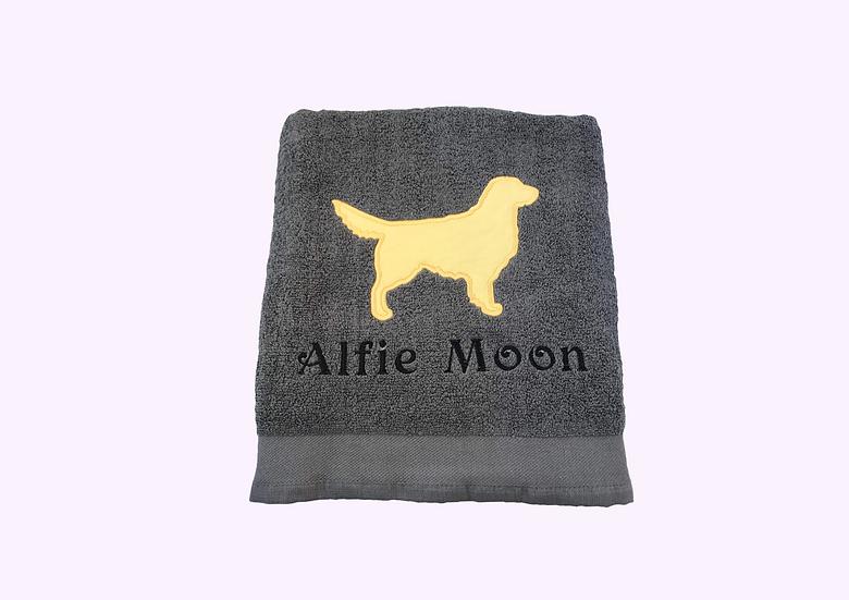 Golden Retriever Personalised Charcoal Grey Towel
