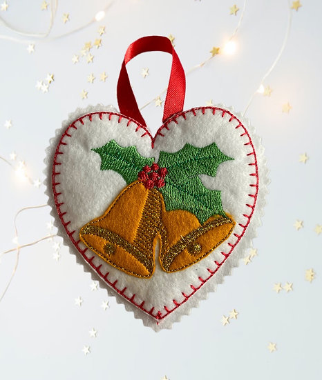 Bells Felt Heart Christmas Decoration