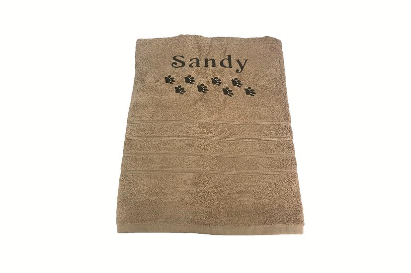 Personalised Pet Bath Towel Pawprints and Name