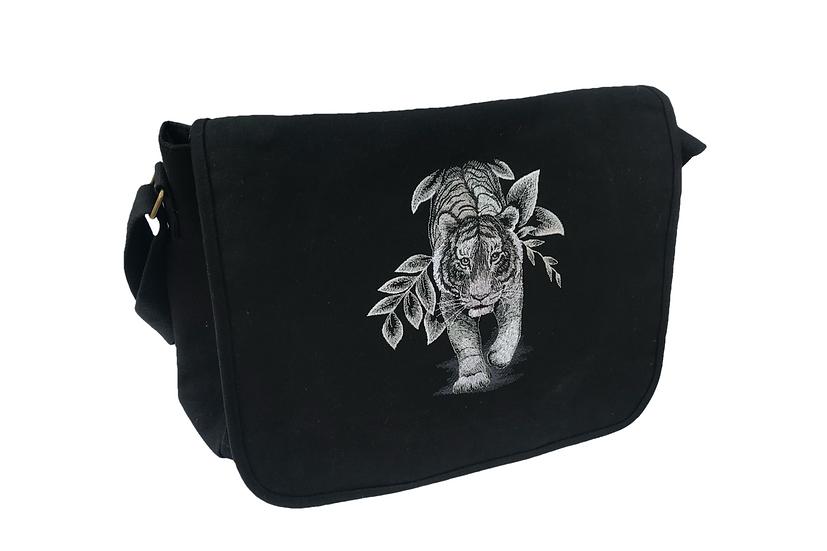 Tiger Cotton Canvas Messenger Bag