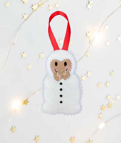 Christmas Gingerbread Snowman Decoration