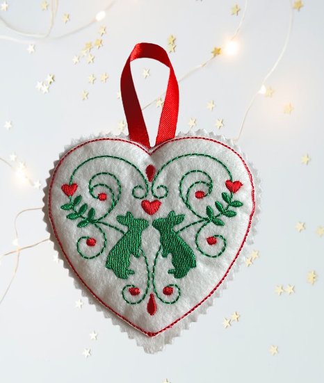 Bunny Rabbit Felt Heart Christmas Decoration