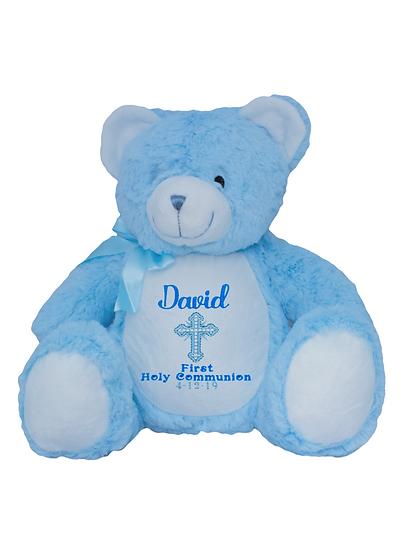 Baby Blue Bear Personalised Christening / Baptism / Holy Communion Soft Toy