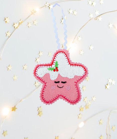 Christmas Kawaii Gingerbread Star Pink Decoration