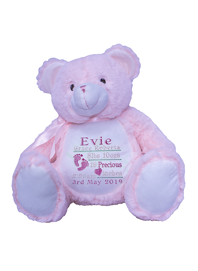 Pink Baby Bear Teddy Personalised Soft Toy