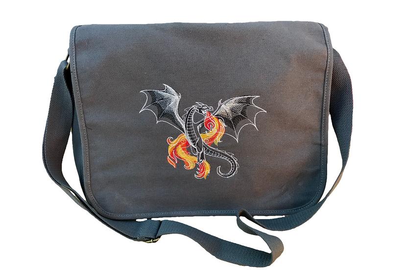 Dragon Cotton Canvas Messenger Bag