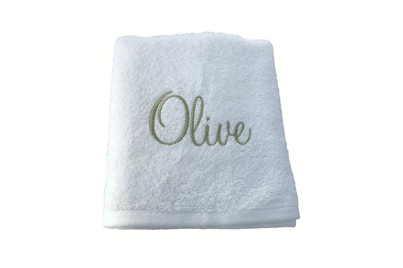 Personalised White Bath Towel (any name)