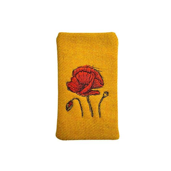 Harris Tweed Yellow Poppy Glasses Case