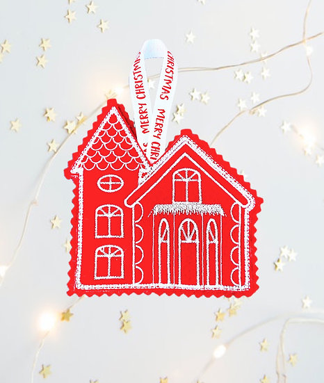 Red & White Church Christmas Tree  Decoration