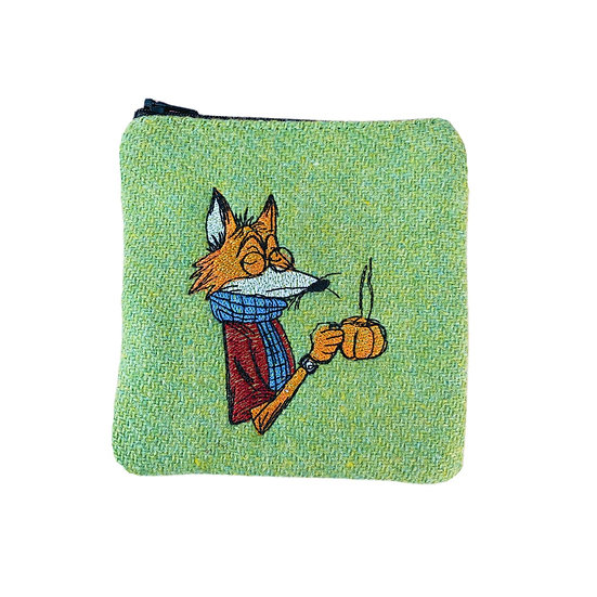 Harris Tweed Green Embroidered Mr Fox Purse