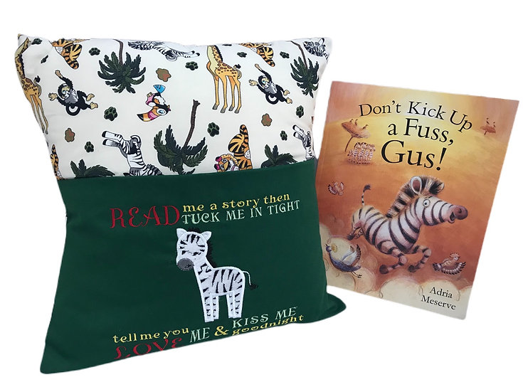 Zebra Zoo/Safari Themed Book Cushion