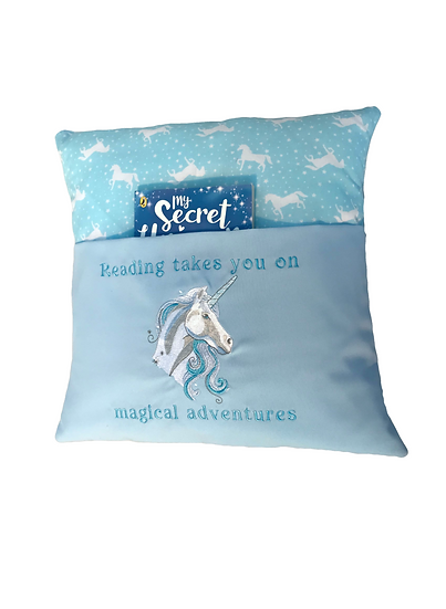 Blue Unicorn Themed Book Cushion