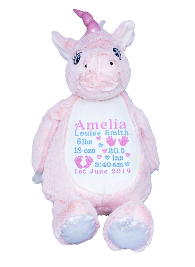 Pink Unicorn Personalised Soft Toy