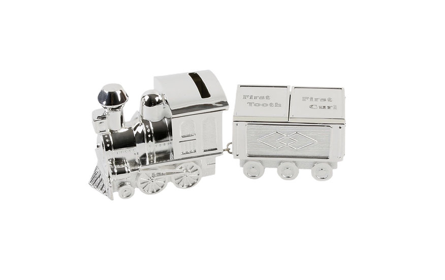 Silver plated Train Money Box / 1st tooth & 1st curl