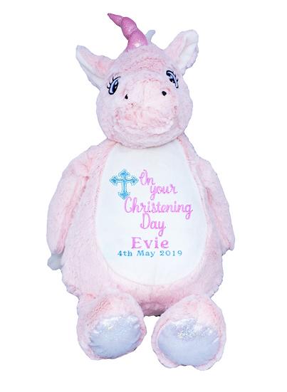 Pink Unicorn Personalised Christening / Baptism / Holy Communion Soft toy