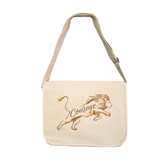Lion Cotton Canvas Messenger Bag