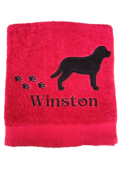 Personalised Black Labrador - Red Bath Towel